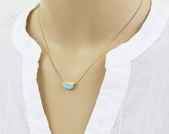 Gold Framed Turquoise Marble Semi Cicle Pendant Necklace Lunar Necklace . Bridesmaid Gift Bridesmaid Necklace Simple and Modern Necklace
