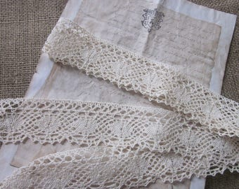 Cluny Vintage COTTON Lace Crochet Style TRIM Ribbon ECRU 3 Yards ~ Pretty ~ Natural
