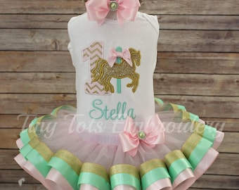 Carousel Horse Birthday Tutu Outfit ~ Includes Top, Ribbon Tutu and Hair Bow~ Can Customize In Any Colors of Your Choice