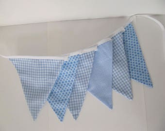 Garland / banner 6 flags 1.50 meters in gingham blue polka dots and stars