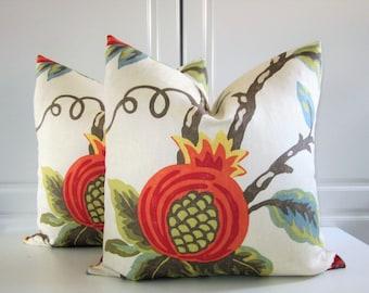 Lee Jofa Decorative Pillow Covers-Mondavi in Pumpkin-Linen-Pomegranate-20x20