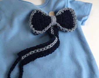 Boys Bowtie Pacifier Clip, 100% Cotton Crochet Pacifier Holder, Binky Buddies, Toy Leash, Toy Clip, Bow Tie Binky Clip, Baby Shower Gift