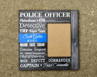 Personalized Police Officer Picture Frame | Police Retirement Gift | Custom Police Gift