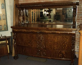 Antique Winged Griffin Quarter Sawn Oak Buffet Sideboard