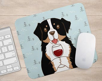 Bernese Mountain Dog Drink Coffee / Wine Mousepad, Dog Mouse Pad, Dog Lover Gift Mousepads,Aztec Geometric Funny Laptop Accessories