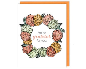 Thank You Card - I'm So Grateful For You - Greeting Card
