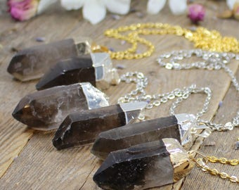 Smokey Quartz Necklace Crystal Necklace Girlfriend Gift for Her Raw Smokey Quartz Crystal Healing Crystals and Stones Bohemian Necklace Boho