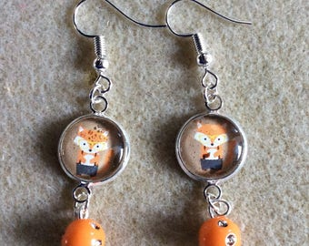 Foxes earrings, rhinestone with silver-coloured earrings