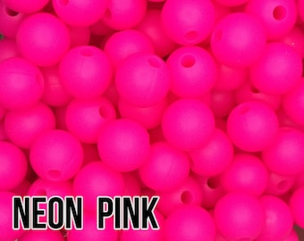 9 mm Neon Pink Silicone Beads 10-1,000 - Bulk Silicone Beads Wholesale - DIY Teething
