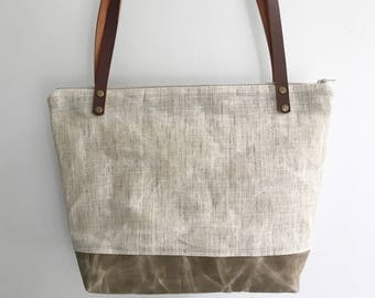 Waxed canvas tote, waxed linen  bag, linen bag, leather straps, summer tote bag, boho style