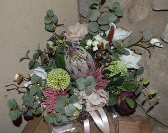 Garden Fresh Bouquet white Bouquet,  Protea Bouquet, Brides Bouquet, Boho Bouquet, Garden Bouquet, Peony Bouquet