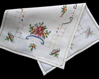 Vintage handmade table runner with cross stitch flowers roses