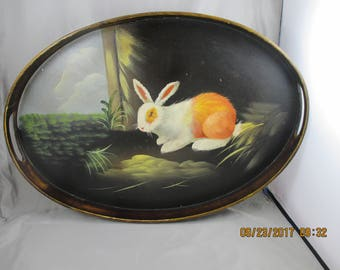 Hand Painted BUNNY RABBIT decorative  tray ~ Oval ~ Wood ~Ready to hang