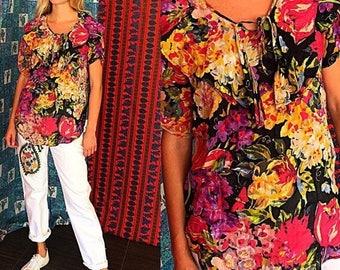 Vintage India Gauze Blouse 80s Gitano Ruffled Boho Floral Indian Gauze Summer Blouse