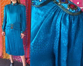 Party Dress Sequin Glass Beaded Silk Dress Francesca For Damon Dress Vintage 80s Jeweled Dress