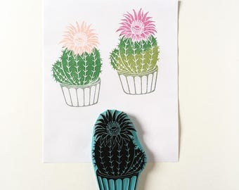 Cactus bloom rubber stamp, hand carved rubber stamp, cactus stamp, cactus decor, cactus plant
