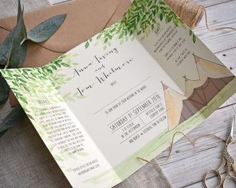 Tipi Wedding Invite | Gatefold Wedding Invite | Festival Wedding | Woodland Wedding