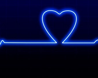 Neon Sign Heartbeat Window Cling Suncatcher Heart Decal Window Decor Glass Cling Faux Stained Glass Glowing Electrocardiogram
