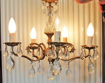 Vintage  Chandelier with drop glasses, Vintage glass chandelier, French pendant lamp