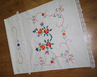 Hand embroidered towel Polish kitchen towel Ukraine ukrainian rushnyk hand stitched window decoration flowers roses white red green rustic