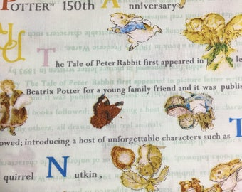Half Yard- Peter Rabbit Fabric- Text / Scenes  and characters - light  green background- Produced by Sunhit Co Ltd- Cotton- Printed in Japan