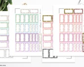 Pastels with Glitter | Half boxes & Labels | Printable Planner Stickers | Happy Planner