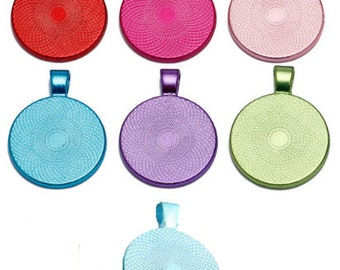 One Metallic Coloured Pendant Blank Bezel Tray Setting // with Clear Glass Cabochon // Jewelry Making // Jewellery Making