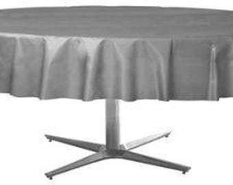 Strong Reusable 84 Inch Round Plastic Table Cover   Tablecloth   Silver