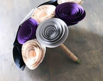 Wedding Bouquet - Paper Flower Bouquet - Wedding Bouquet Alternative - Purple Wedding Bouquet - Bridal Bouquet - Paper Flowers - Book Page