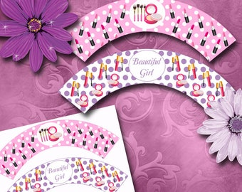 Makeup Cupcake Wrappers Instant Download Printable Cupcake Wrappers