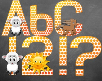 Farm Animal Alphabet and Numbers Instant Download Farm Animal Letters and Numbers Digital Alphabet