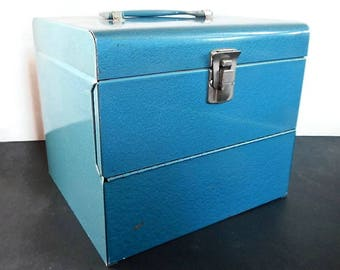 Vintage Logan DeLuxe Home Movie Reels Chest or Carrying Case - film canister,cans,Super 8, 8mm, metal,aqua blue,industrial, decor,photo prop