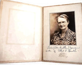 Vintage Sepia Portrait of Woman, Lois Jensen or Lola Butler - photo, photograph, original, matted, folder, mother, glasses, NY, photography