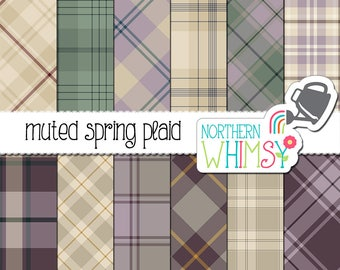 Spring Plaid Digital Paper - muted beige, purple, and green plaid scrapbook paper - commercial use OK