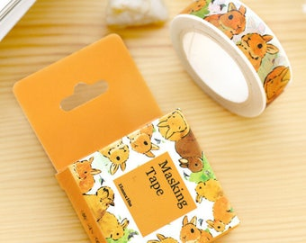 Roll of masking tape-rabbit - Washi tape with bunnies (adhesive deco)