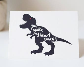 You Make My Heart Roar Dinosaur Valentines Day Card - Anniversary Card - Hand Lettered Card - Dinosaur Card - Valentines Day Card