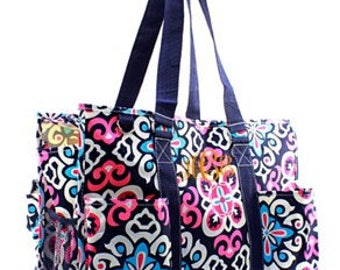 Monogrammed/Personalized Geometric Utility Tote Bag, Diaper Bag, Beach Bag