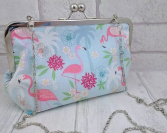Flamingo clutch purse//funky purse//metal snap frame//pink and light blue//clutch bag// large purse//metal chain//tropical theme