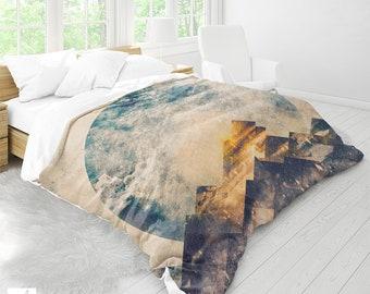 One mountain   Duvet Cover   Duvet    Nature Duvet Cover   Boho Duvet Cover   Bedroom Decor   Mountain And Moon Duvet   Twin & Queen Size