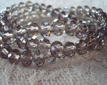 "8x6mm Smoky Grey Rondelles. Light True-Grey, Half Pearl Luster Finish, Saturated Grey Color Cut Glass.  17"" Strand. ~USPS Ship Rates/Oregon"