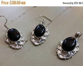 Holiday SALE 85 % OFF Black Onyx Earrings  Pendant Gemstones Set . 925 Sterling Silver
