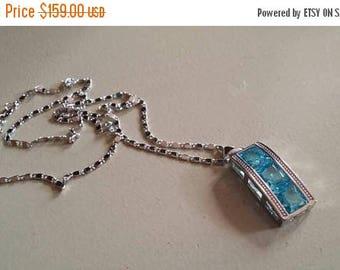 Holiday SALE 85 % OFF Blue Topaz  Necklace Pendant Set .925 Sterling  Silver Gemstone