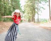 Girls Black Striped Maxi Skirt w/Teal Braided Belt, Girls Long Maxi Skirt, Girls Striped Skirt - Sizes 4/5, 6/6X, 7/8, 10/12 - Ready to Ship