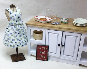 Miniature Dollhouse Vintage Inspired Apron with Bib - Soft White with Sage and Purple Flowers