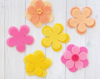Felt Flowers, 12 pieces, 5-Petal Flower Layers, Felt Florals, Die Cut Felt Shapes, Felt Applique, Felt Board Supplies, Your Choice of Colors