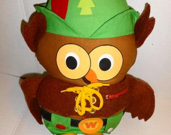 """1971 Woodsy Owl """"Give A Hoot, Don't Pollute"""" Cloth Doll. Mint condition"""