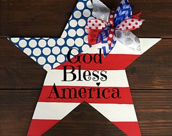 Fourth of July Door Hanger, Fourth of July Sign, Patriotic Door, Patriotic Wreath