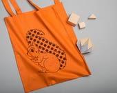 Squirrel Bag, Screen Printed Shopping Bag, Tote bag, Record Bag, Autumn colours, Fall colors, Woodland Animals