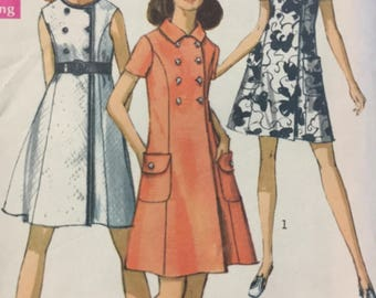 1960s, Simplicity 8586, Coat Dress, Sewing Pattern, Step in, Round Neckline, Button Closing, Short Sleeves, Sleeveless, Double Breasted