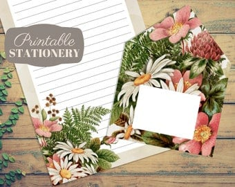 Pink Bouquet Printable Stationery Set - Instant Download Letter Writing Sheets with Print-And-Fold Envelope